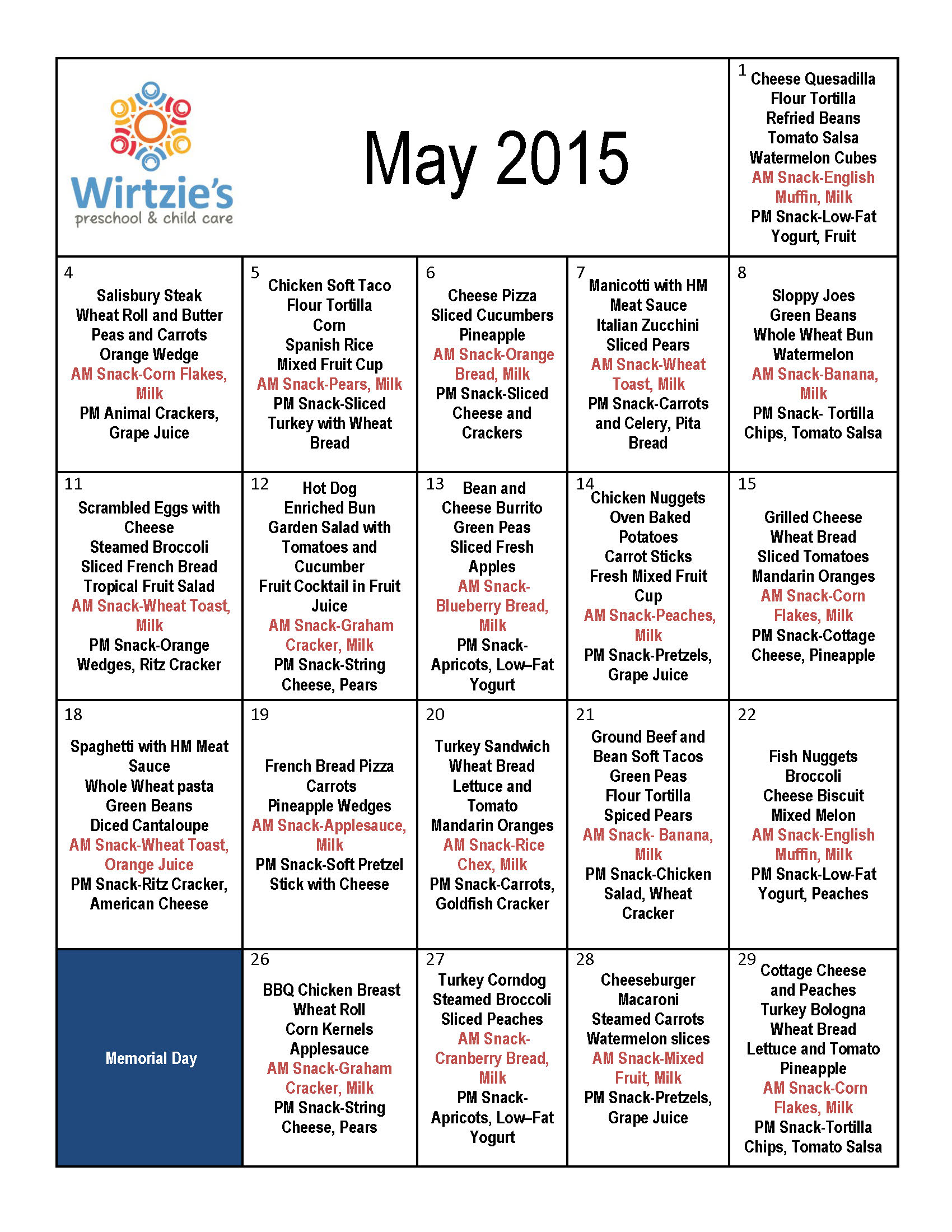 Wirtzies May 2015 Menu